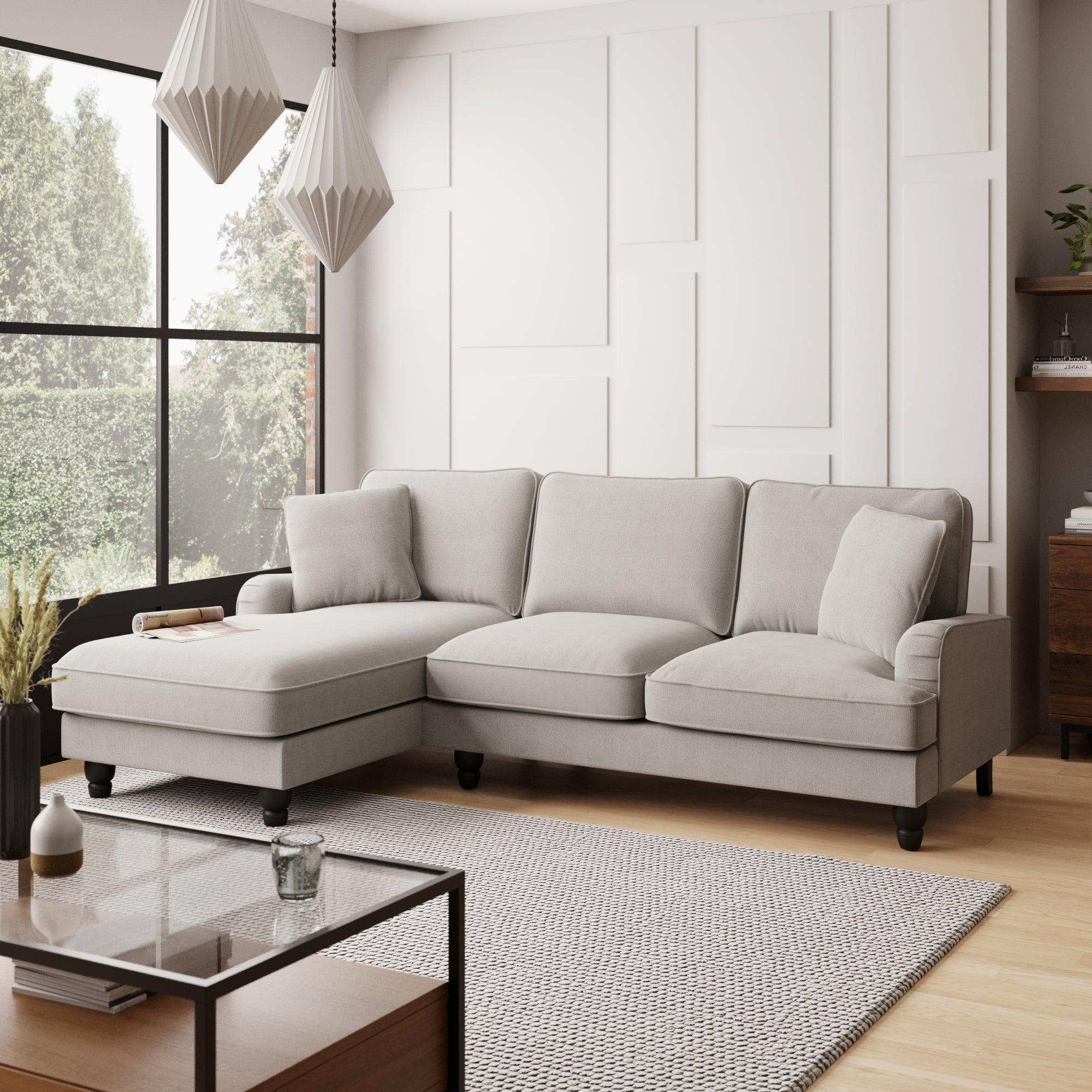 Beatrice Boucle Left Hand Corner Sofa Light Grey