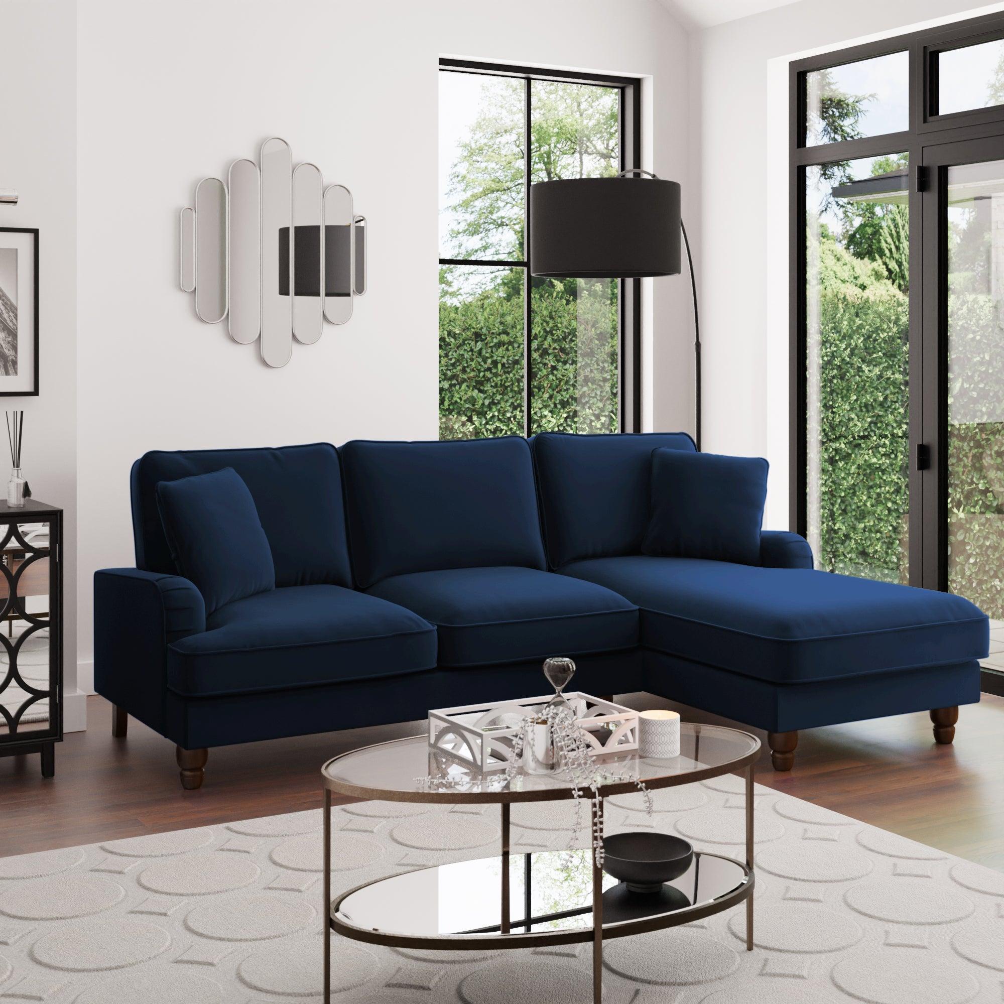 Beatrice Velvet Right Hand Corner Sofa Luxe Navy