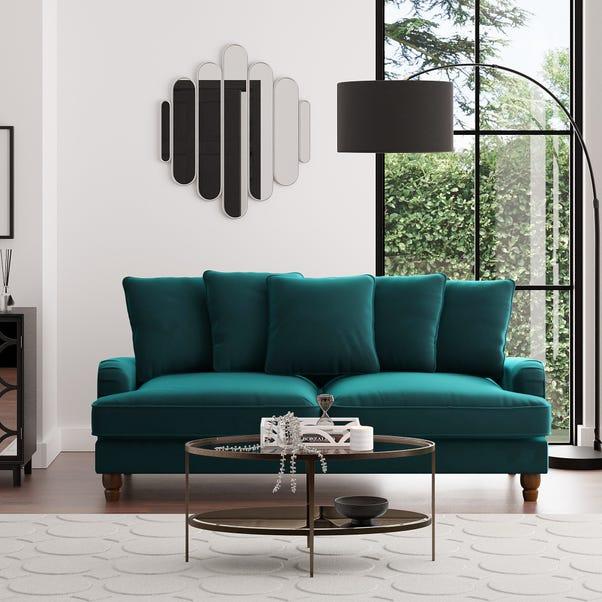 Beatrice Velvet Scatter Back 3 Seater Sofa Peacock