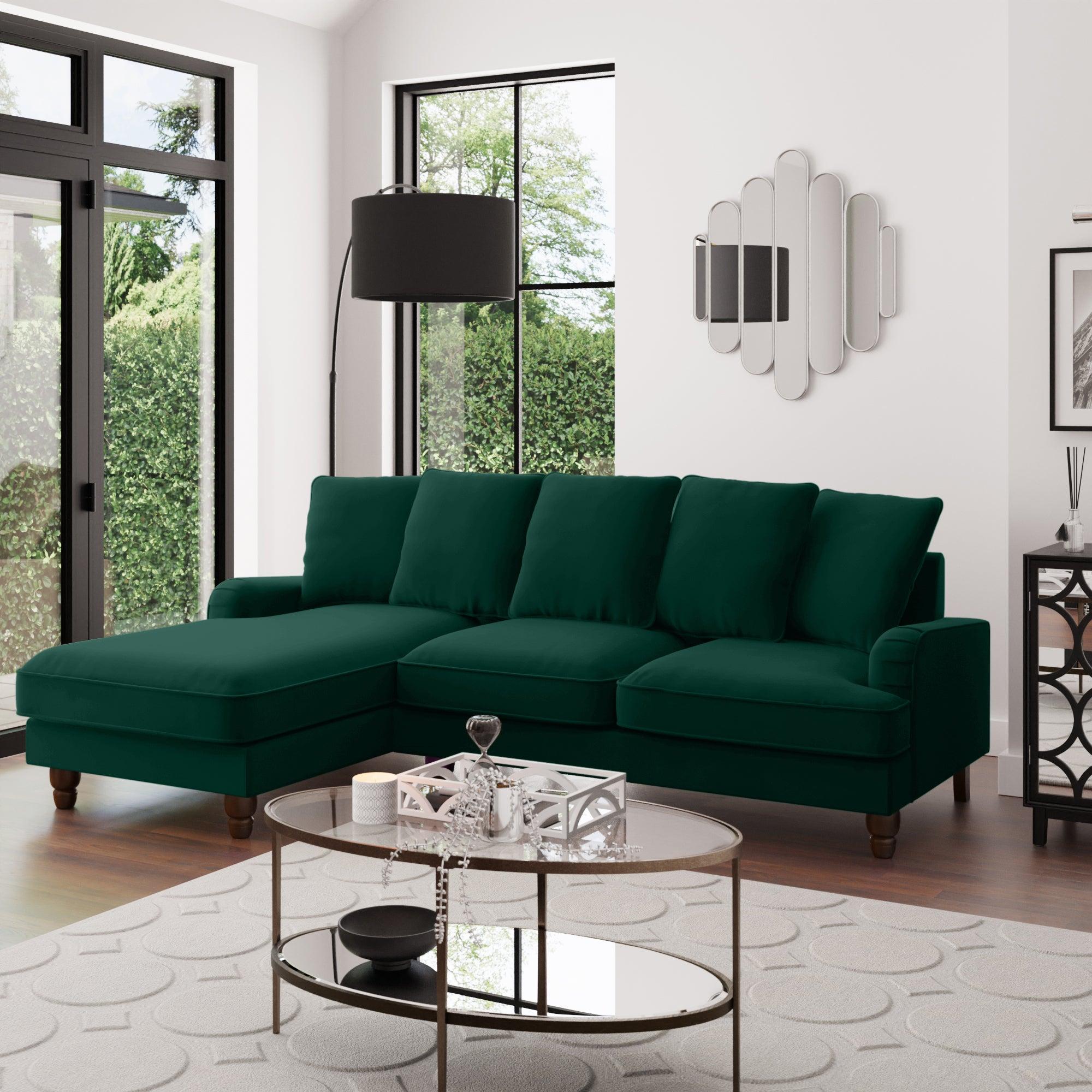 Beatrice Scatter Back Velvet Left Hand Corner Sofa Bottle (Green)