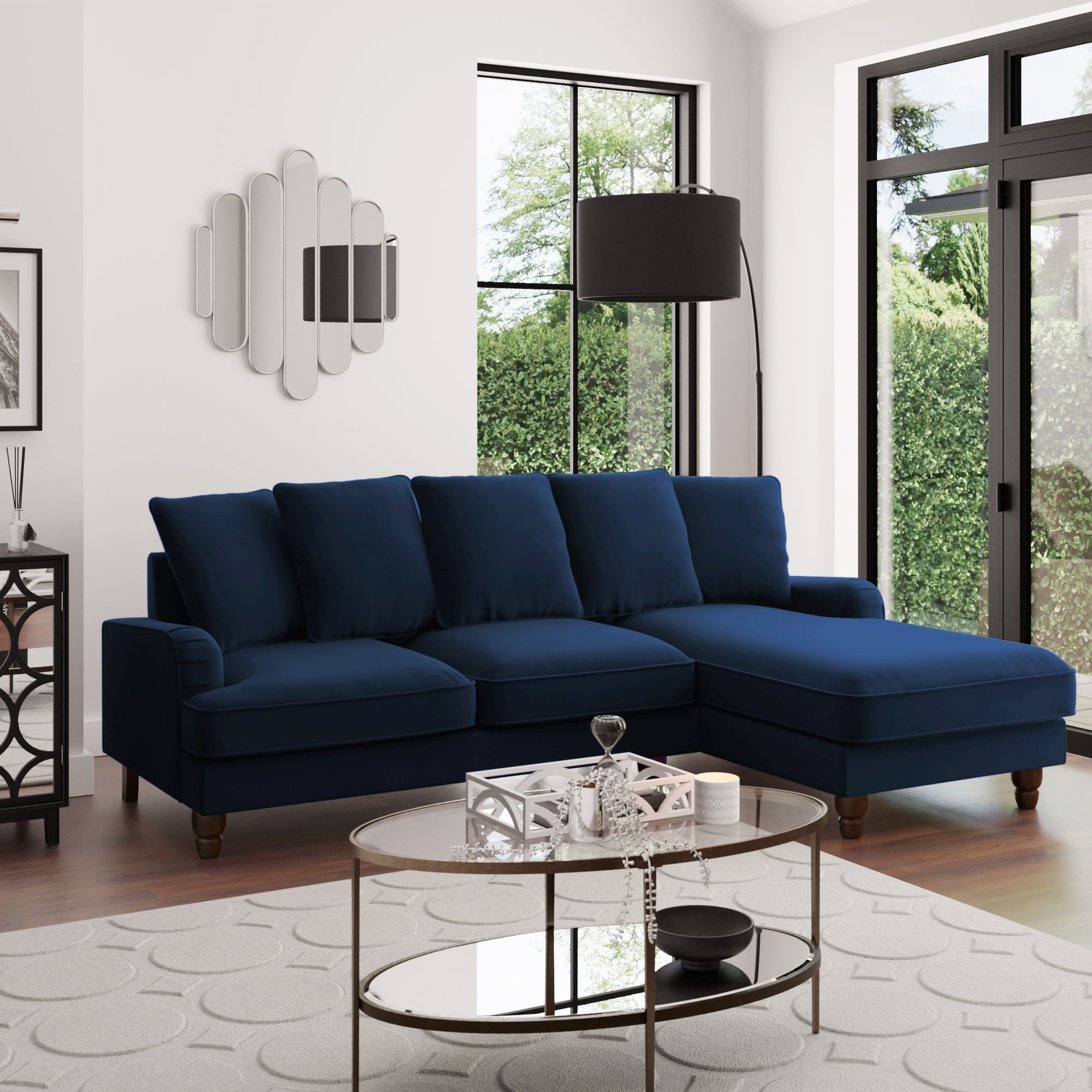 Beatrice Scatter Back Velvet Right Hand Corner Sofa Luxe Navy