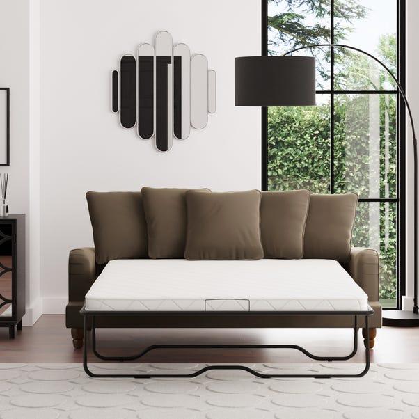 Beatrice Scatter Back Velvet 3 Seater Sofa Bed Taupe