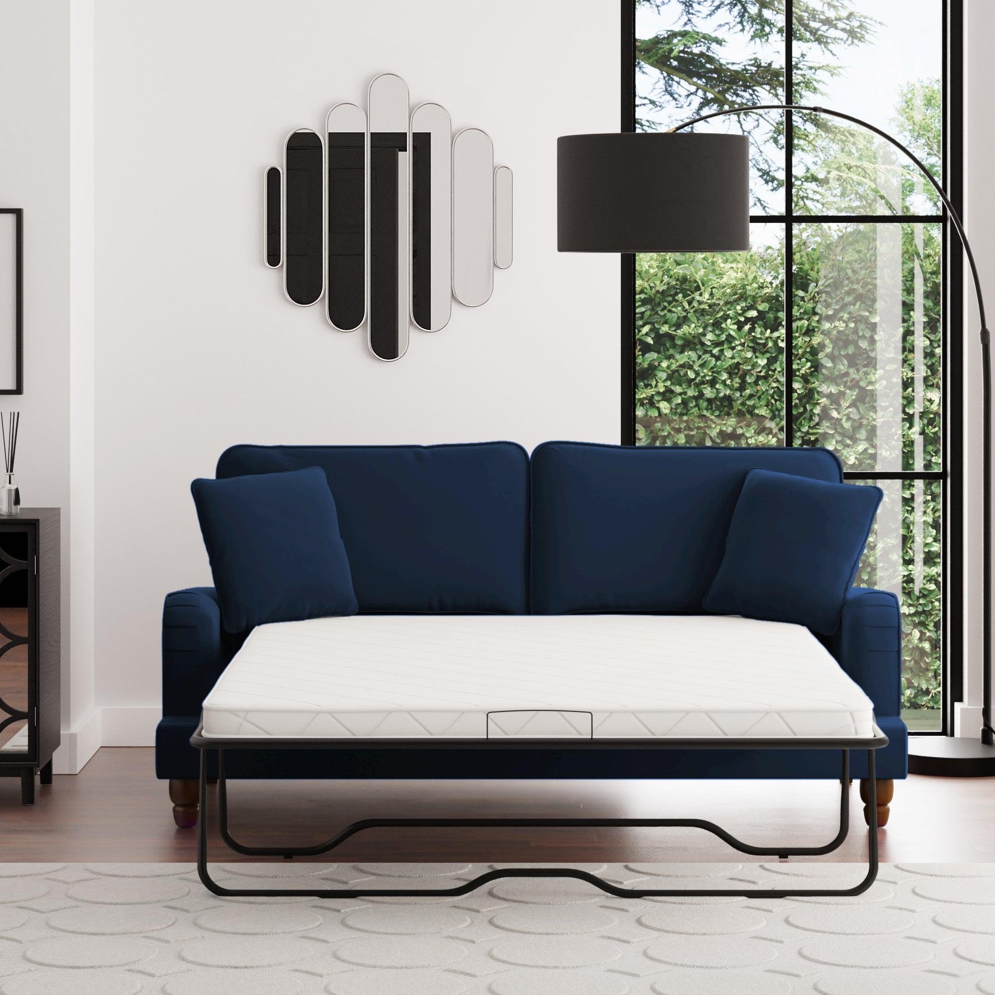 Beatrice Velvet 3 Seater Sofa Bed Luxe Navy
