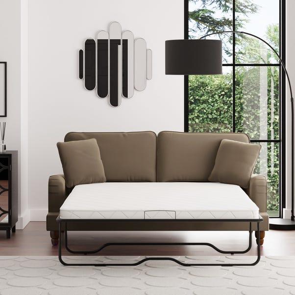 Beatrice Velvet 3 Seater Sofa Bed Taupe