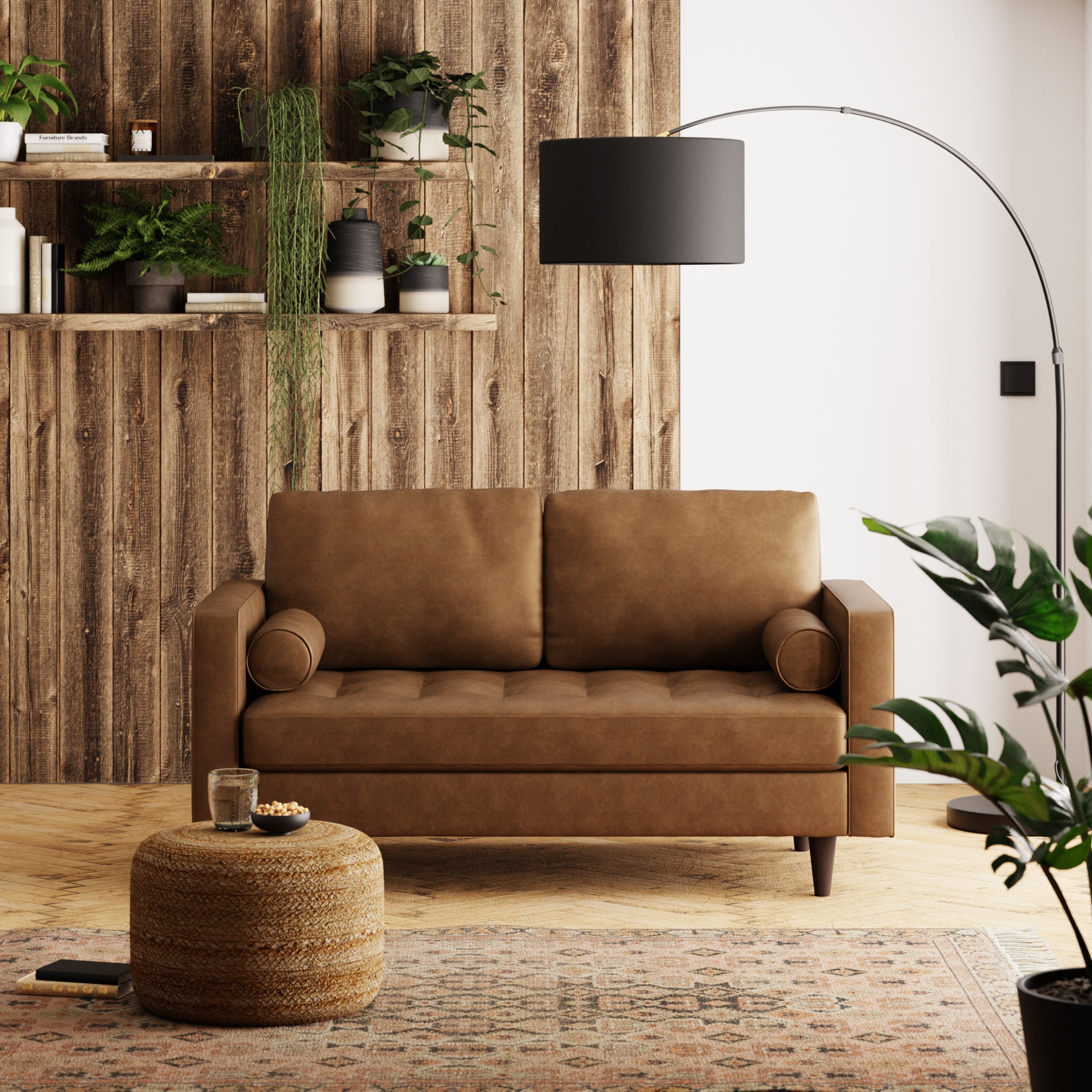 Zoe Faux Leather 2 Seater Sofa Brown