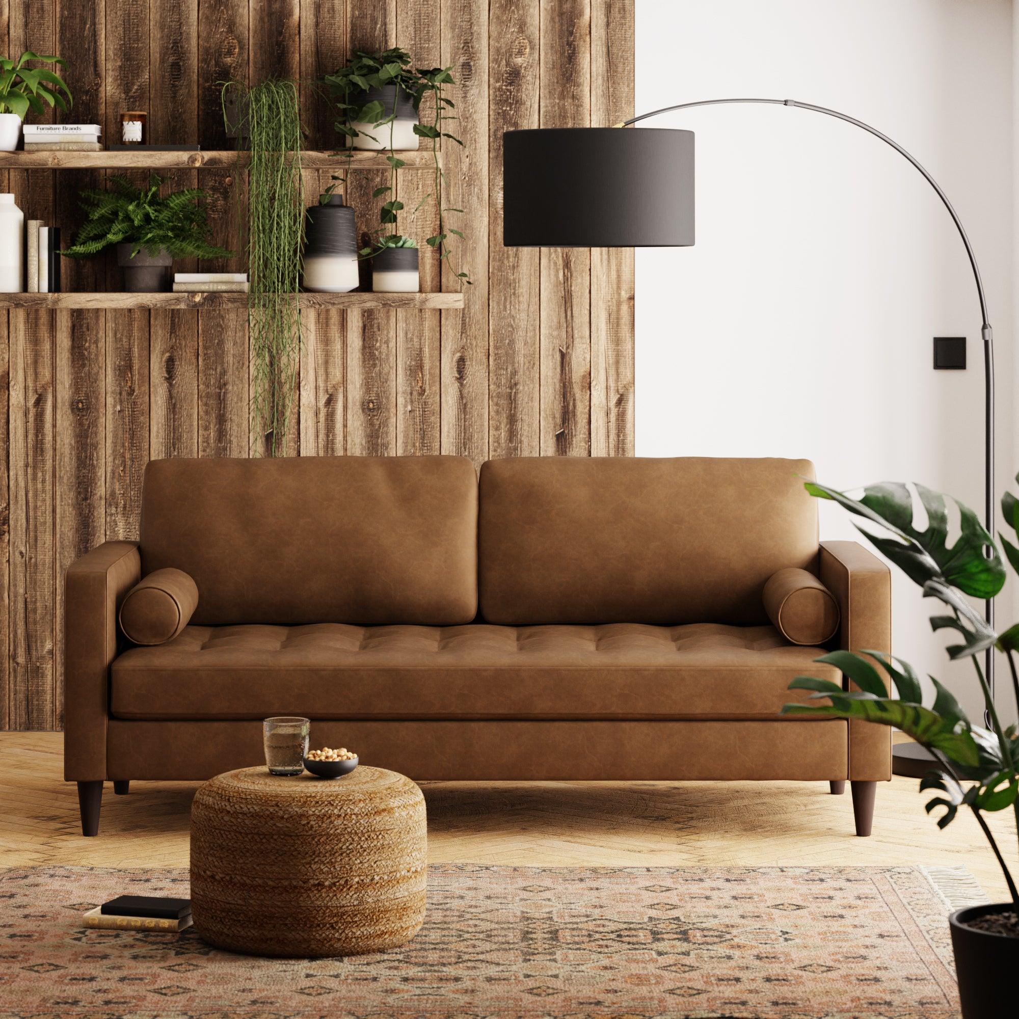 Zoe Faux Leather 3 Seater Sofa Tan (Brown)