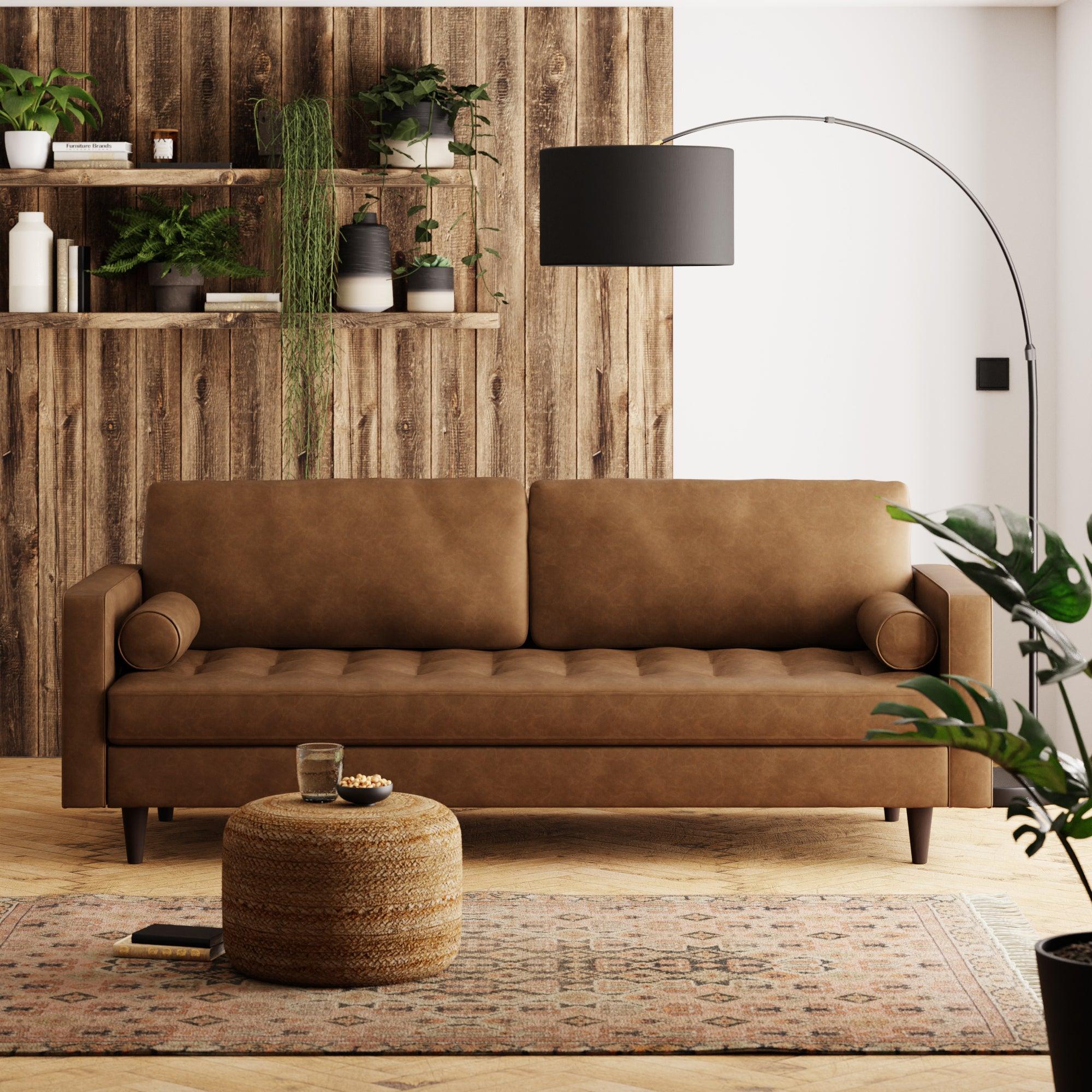 Zoe Faux Leather 4 Seater Sofa Tan (Brown)