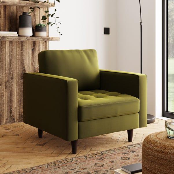 Zoe Velvet Armchair Olive (Green)