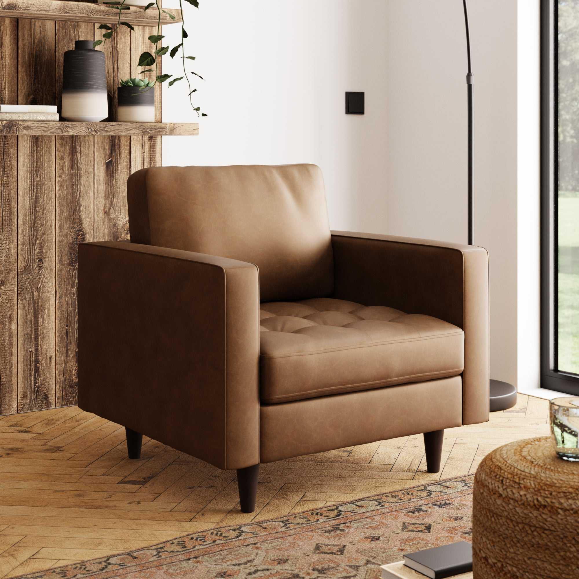 Zoe Faux Leather Armchair Tan (Brown)