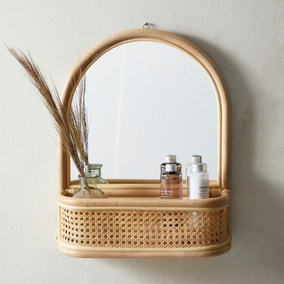 Bent Cane Anti Bacterial Mirror with Shelf