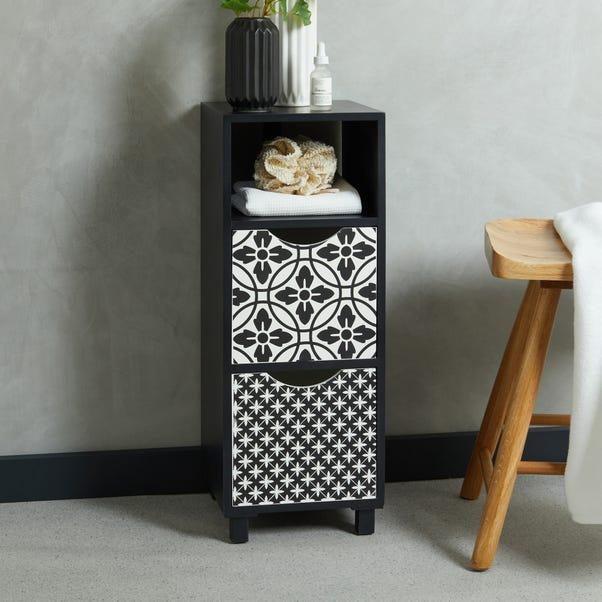 Geo Tile Monochrome Drawers Black