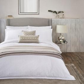 Dorma Purity Staunton Waffle Stripe White 100% Cotton Duvet Cover and Pillowcase Set