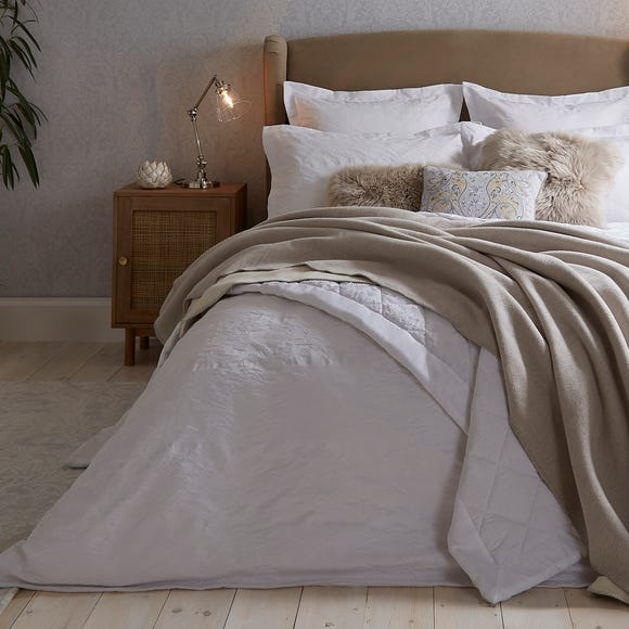 Dorma Purity Kempley Jacquard White Duvet Cover and Pillowcase Set  undefined