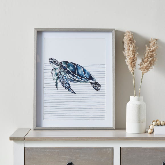 Sea Turtle Framed Print White and Blue
