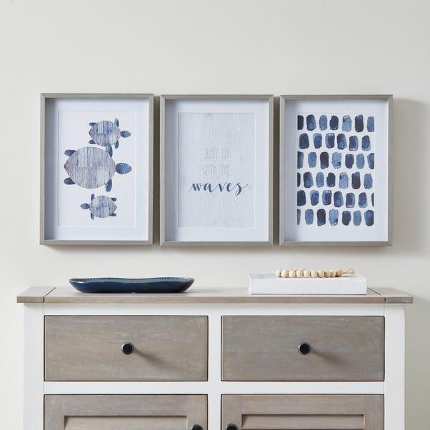 Set of 3 Coastal Framed Prints White and Blue