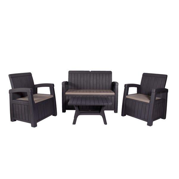 Faro 4 Seater Black Conversation Set Black