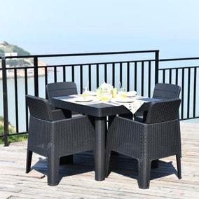 Faro 4 Seater Black Square Dining Set