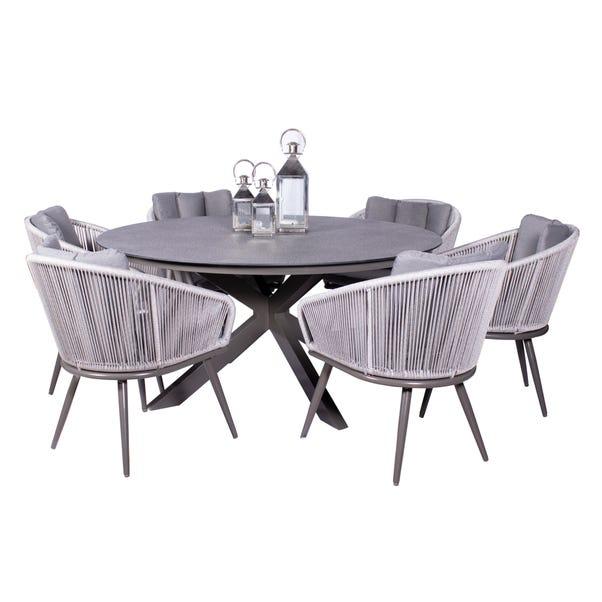 Aspen 6 Seater Round Dining Set Grey