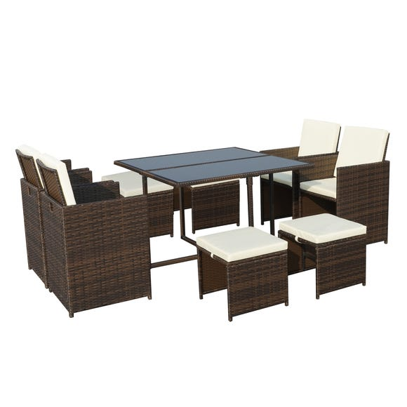 Cannes 8 Seater Brown Cube Set  Natural (Cream)