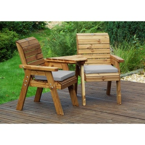 Charles Taylor 2 Seater Angled Twin Companion Set with Grey Seat Pads