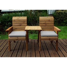 Charles Taylor 2 Seater Twin Companion Set with Grey Seat Pads