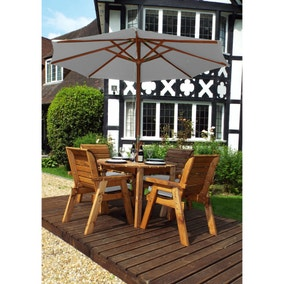 Charles Taylor 4 Seater Round Dining Set with Grey Seat Pads and Parasol