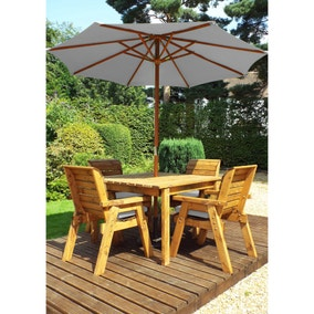 Charles Taylor 4 Seater Square Dining Set with Grey Seat Pads and Parasol