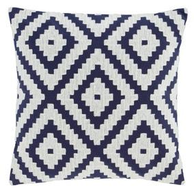 Geo Crewel Navy Cushion Cover