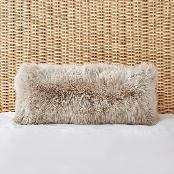 Dorma Natural Sheepskin Boudoir Cushion Natural (Cream)
