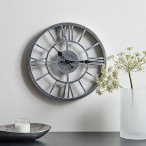 Skeleton Clock 30cm Silver