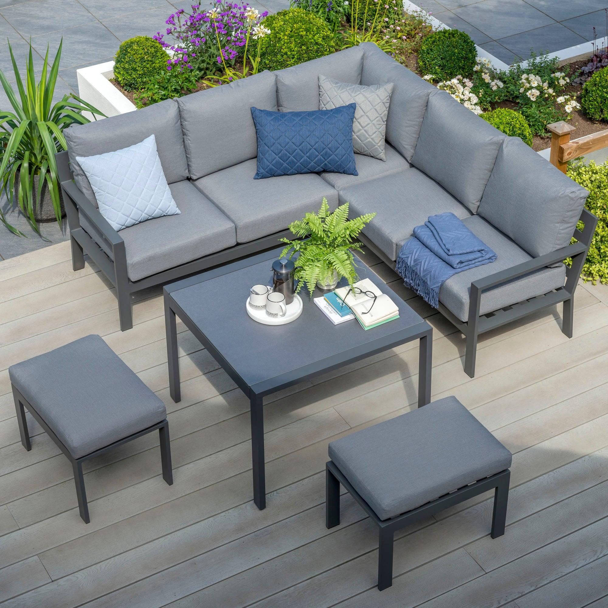 Titchwell 6 Seater Grey Mini Corner Sofa Set Dark Grey