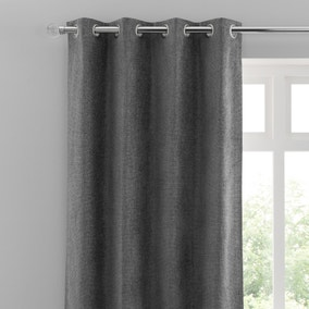 Oxford Grey Chenille Eyelet Curtains