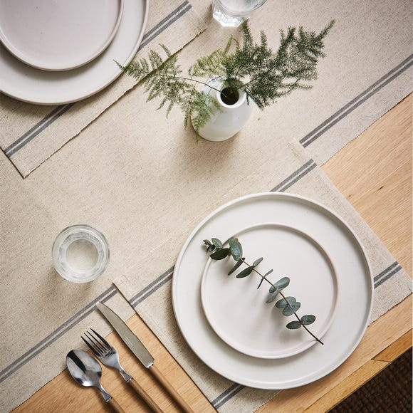 Churchgate Set of 2 Ribbed Striped Placemats Grey