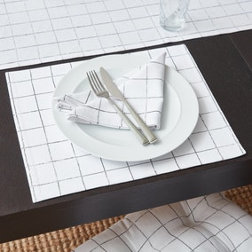 Set of 2 Broken Check Fabric Placemats