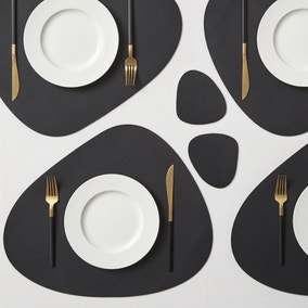 Pack of 2 Black Faux Leather Pebble Placemats