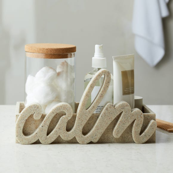 Calm Resin Word and Storage Ornament Natural (Brown)
