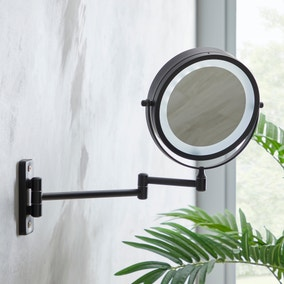 """Black 7"""" Double Sided LED Wall Mirror"""