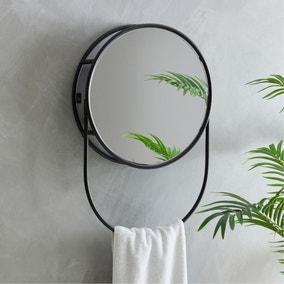 Elements Matte Black Storage Mirror