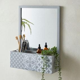 Purity Geo Tile Grey Bathroom Mirror
