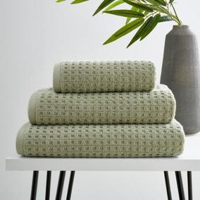 Sage Green Waffle 100% Cotton Towel