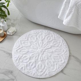 Mandalay White 100% Recycled Cotton Bath Mat