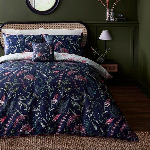 Dorma Winter Garden Navy 100% Cotton Reversible Duvet Cover and Pillowcase Set  undefined
