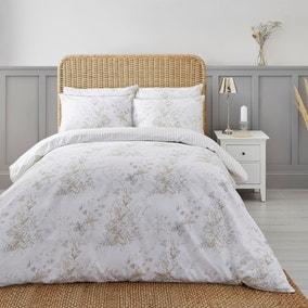 Dorma Coleton Natural Floral 100% Cotton Reversible Duvet Cover and Pillowcase Set