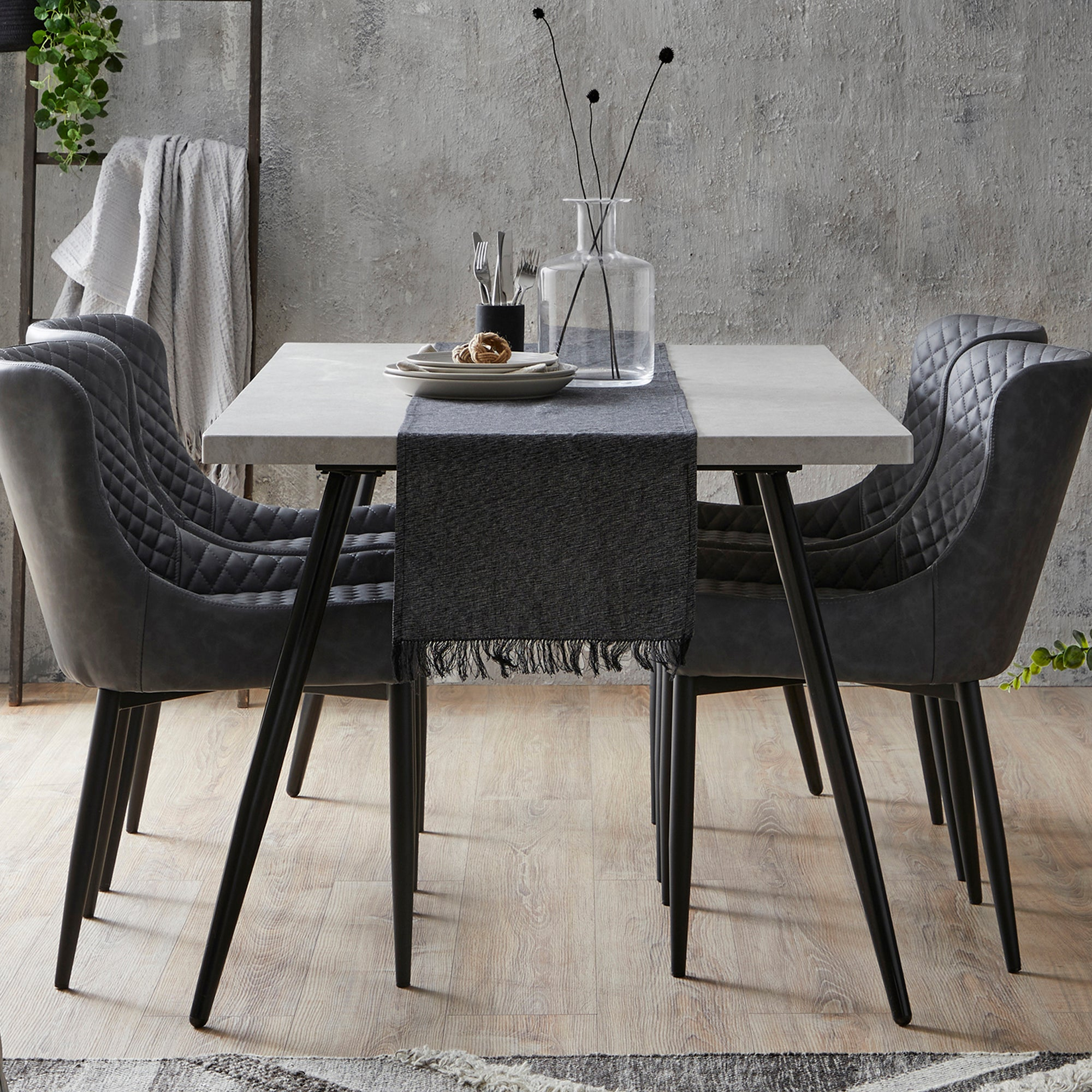 Zuri Concrete Effect Rectangular Dining Table Grey