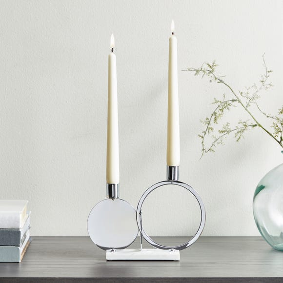 Circle Dinner Dual Candle Holder  Silver