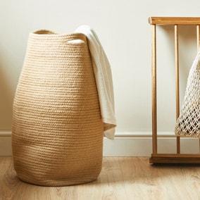 Cotton Jute Natural Laundry Basket