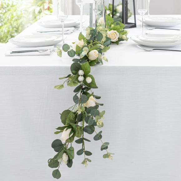 Artificial Traditional Wedding Garland White