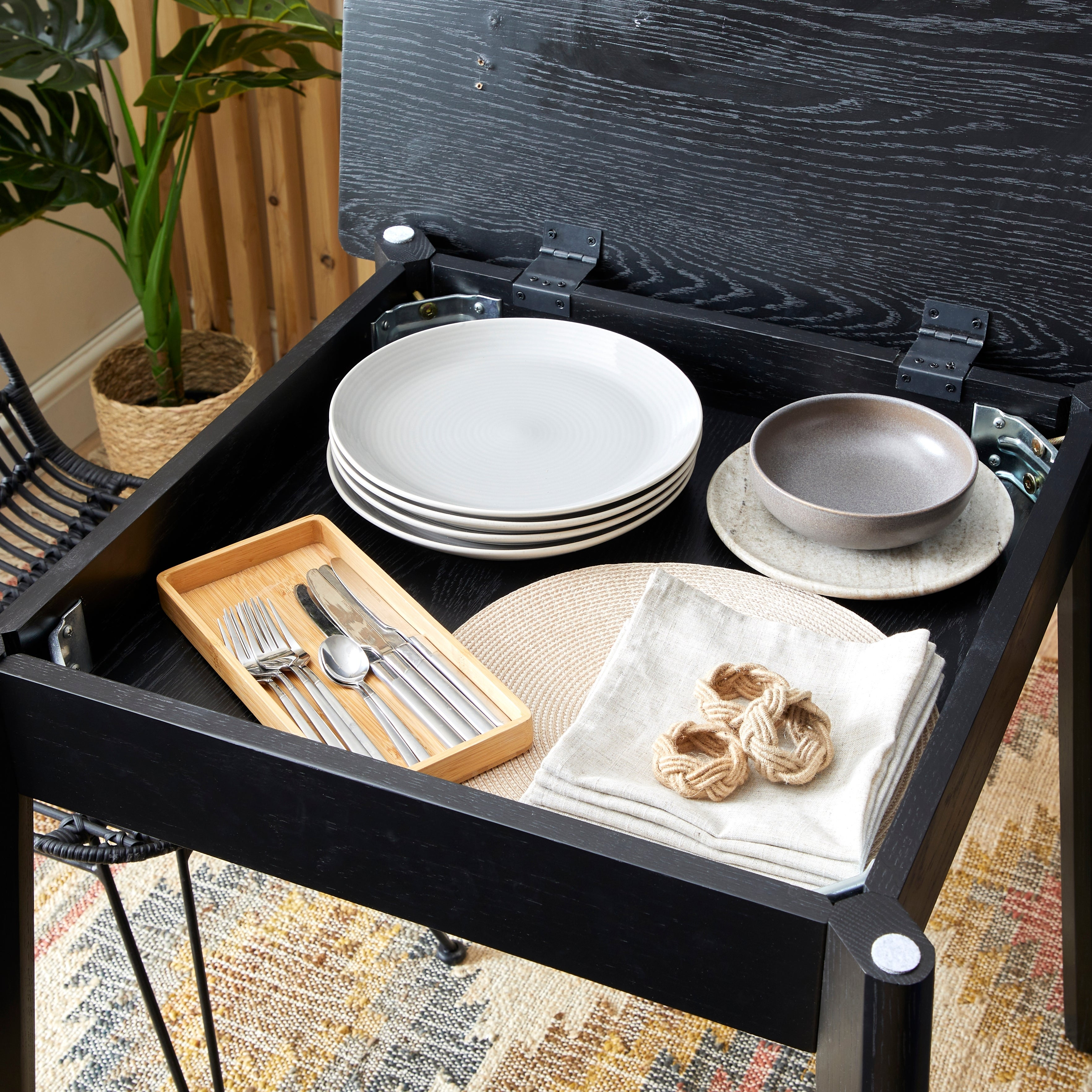 Aster Square Dining Table With Storage Black