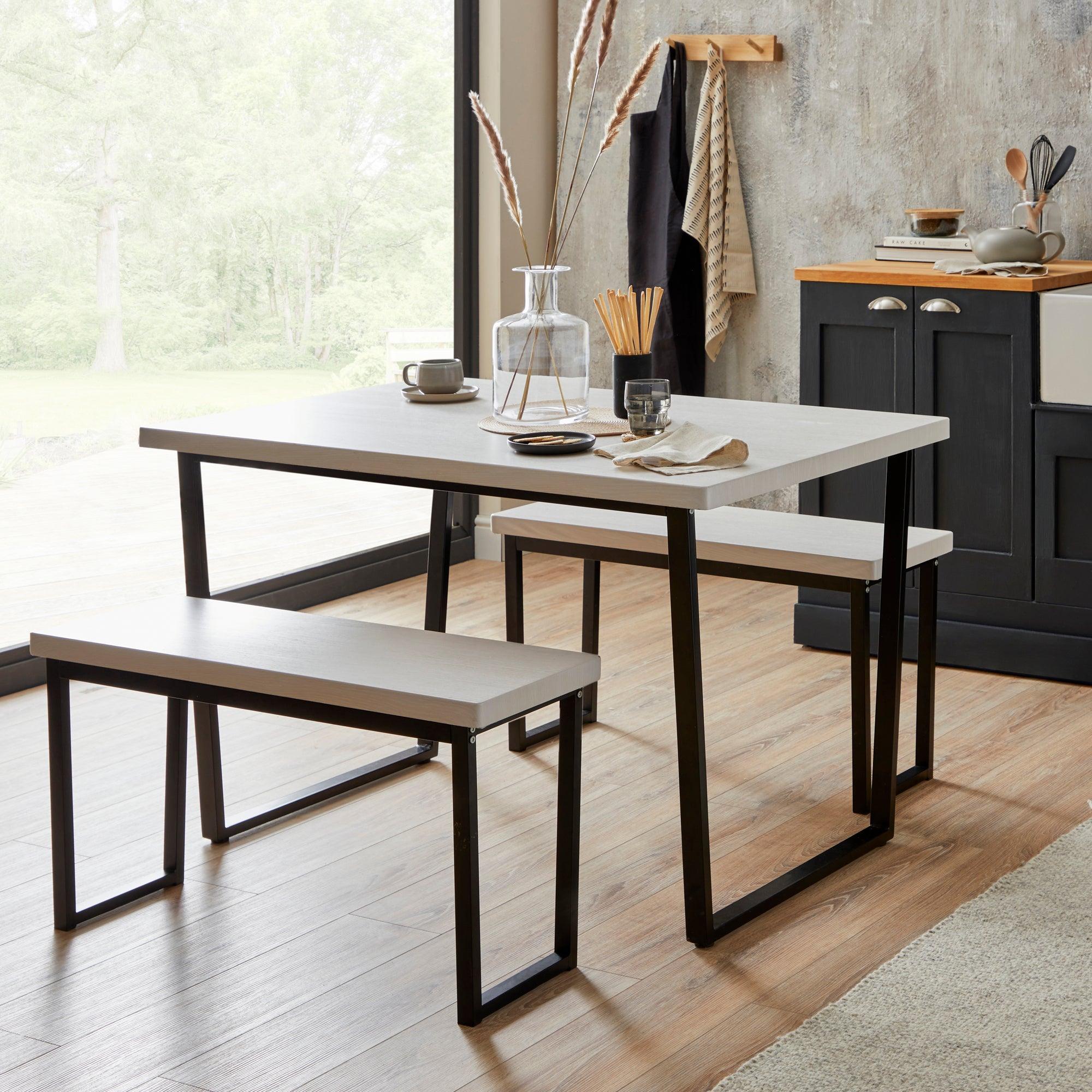 Vixen Rectangular Dining Table Black and white