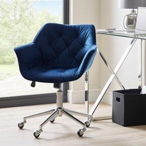 Macy Midnight Velvet Buttoned Back Office Chair